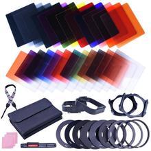 VANPOWER 38 pçs/lote 24 Cores ND Grad Filtro Lens Set Kit Com Adaptador De Suporte de Filtro Quadrado + Camera Shoulder Neck alça Para Câmera