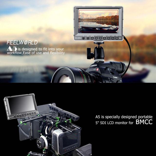 """Frete grátis! A5 5 """"Caixa De Alumínio Da Câmera Top Monitor HDMI 3G-SDI Para BMCC FS700 A7R Foguete Vermelho"""