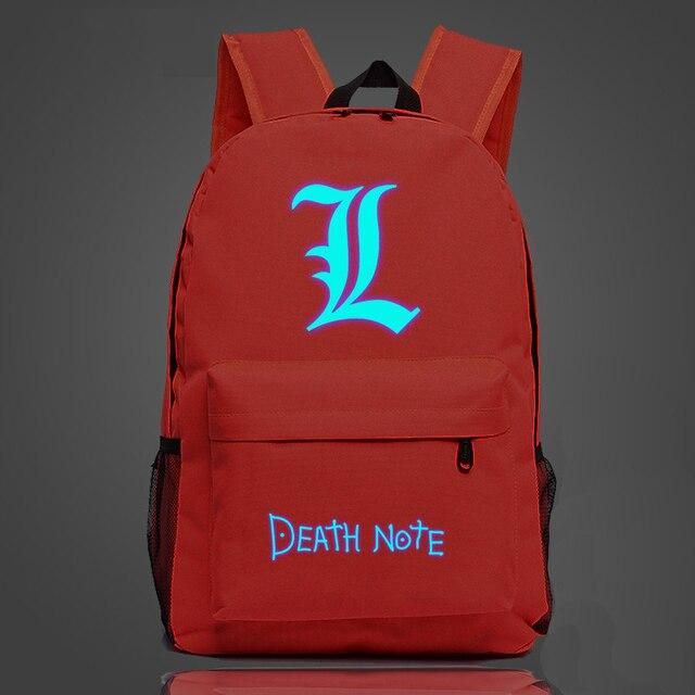 Death Note Luminous Backpack School Bag