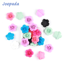 Joepada 10Pcs/lot Rose Flower Baby Teething Beads BPA Free for DIY Necklace Accessories Oral Care Toy Teether