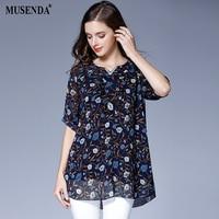 MUSENDA Plus Size Women Blue Print Diamond V Neck Floral Print Blouse Summer Female Lady Fashion