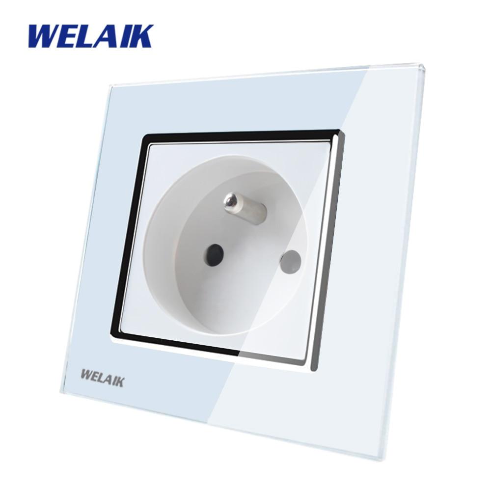 цена на WELAIK Brand Manufacturer Glass Panel Wall Socket Wall Outlet White Black France Standard Power Socket AC110~250V A18FW/B