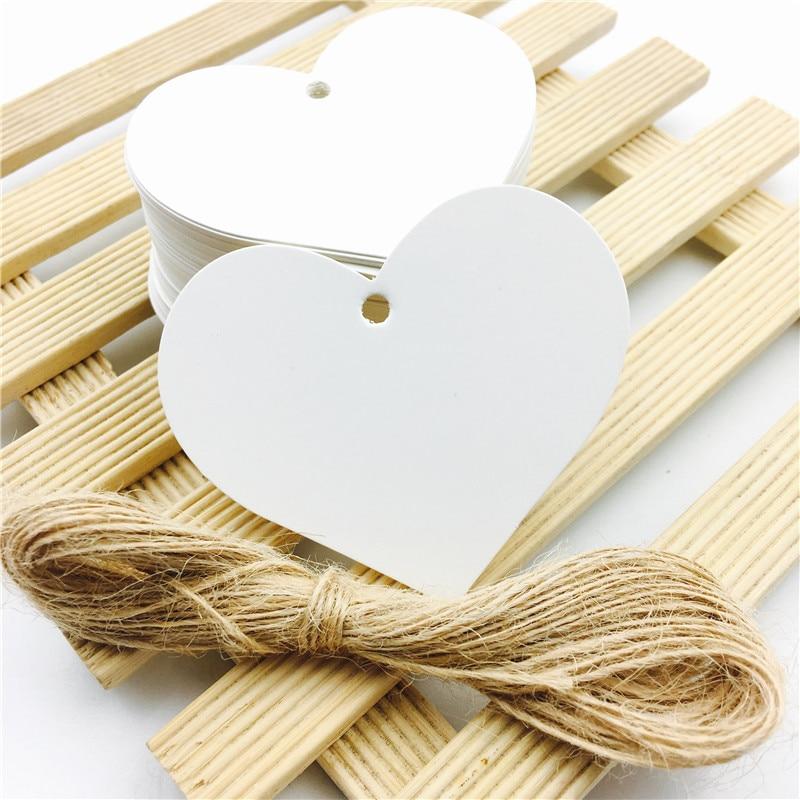 100pcs/lot Heart Shaped White Black Brown Kraft Paper Tags Gardening Labels DIY Wedding Note Blank Craft Gift Tag 6.5*5cm
