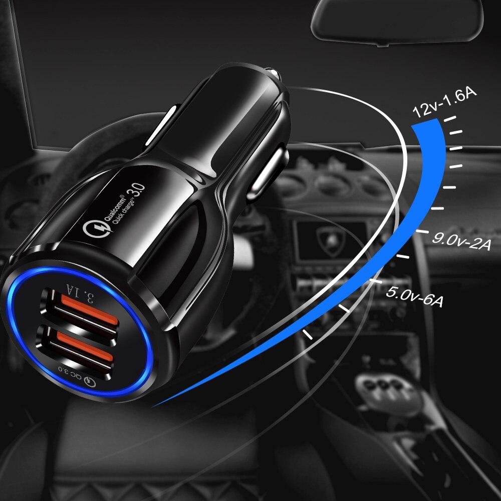 Image 4 - Новейшая уникальная форма 3,0 2,0 Быстрая зарядка USB Автомобильное зарядное устройство для мобильного телефона 2 порта 50 мин до 100% батарея для Univeral с коробкой