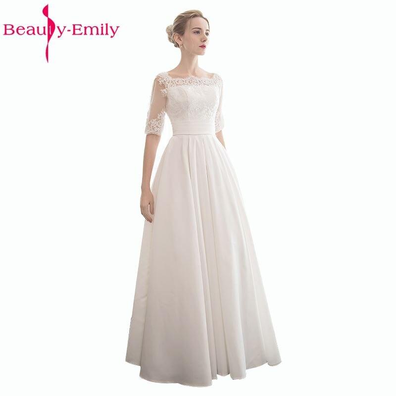 166ef6cbf0fe Vestidos de novia de encaje blanco elegante de la belleza de la señora 2019  A línea de encaje ...