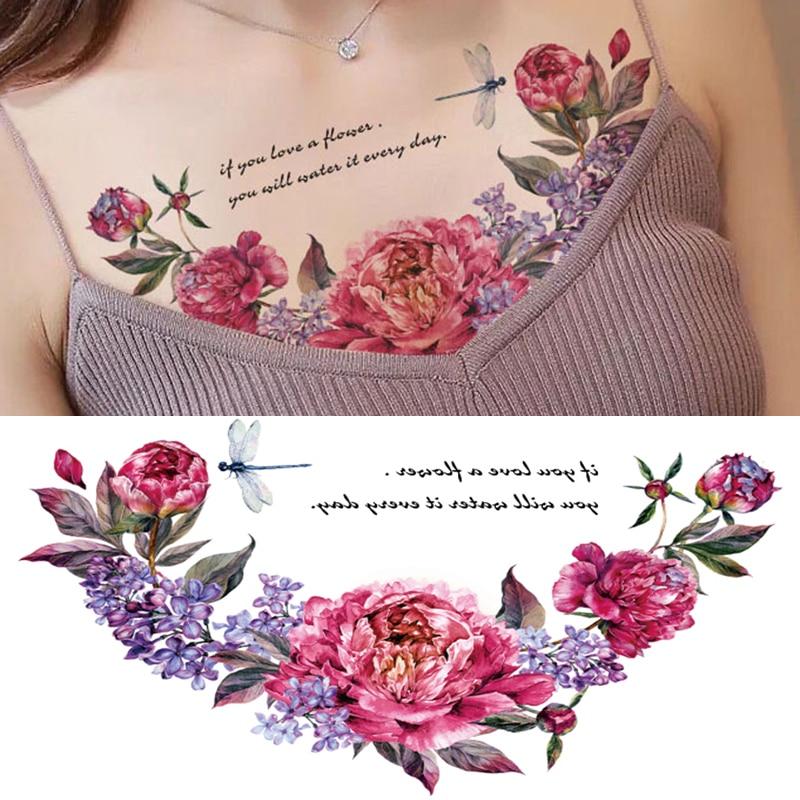 New Designs Chest Flash Tattoo Large Rose Flower Dragonfly Shoulder Arm Sternum Tattoos Henna Body/back Paint Under Breast Skull