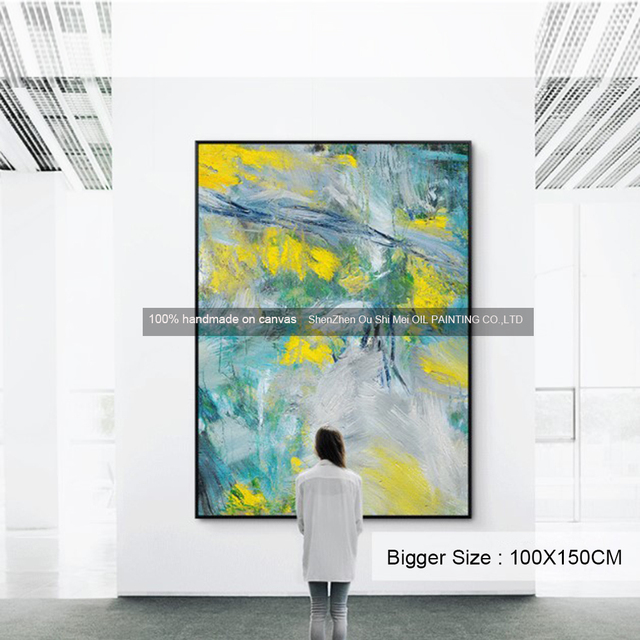 Big Size New Handmade Modern Abstract Oil Painting On Canvas for Room Wall Decor Landscape Painting Yellow Blue Picture Gift