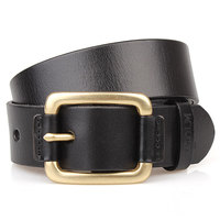 Mens Copper Buckle Real Leather Belt Large Size Business Sliding Buckle Ratchet Strap Trousers Pants Waistband