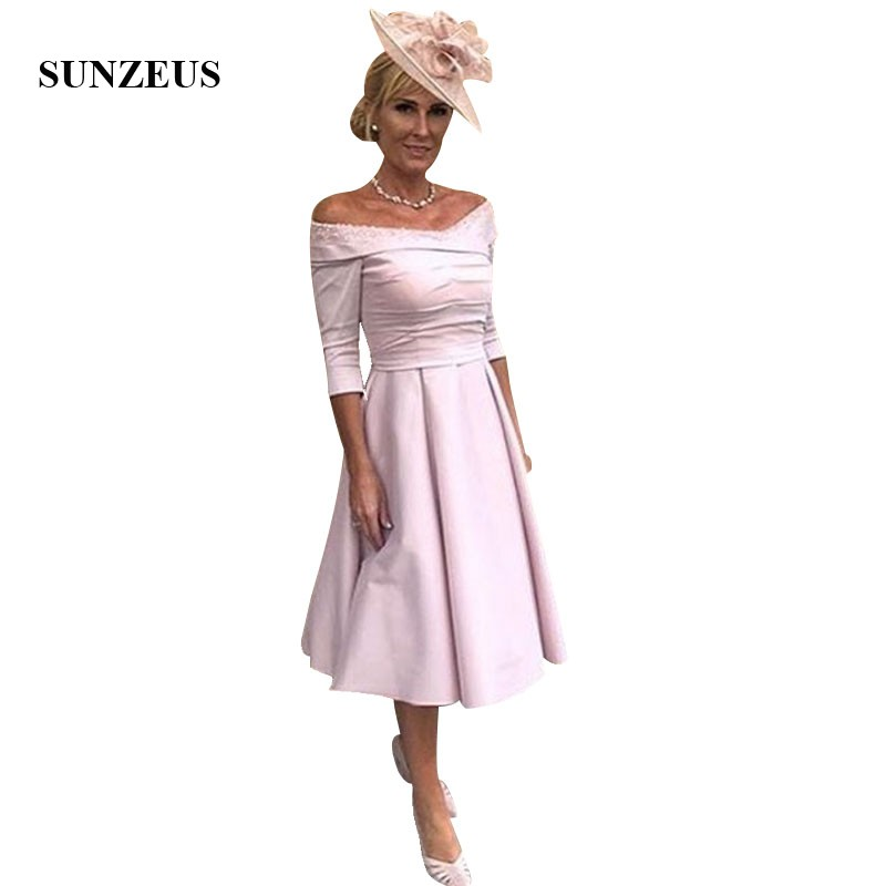 A-line Off Shoulder Bride Mother Dress Three Quarter Sleeves Tea Length Mother Of The Bride Formal Gowns Satin Party Dress
