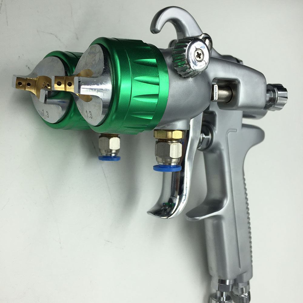 цена на SAT1189 silver mirror chrome spray paint air compressor paint sprayer high pressure nozzle paint gun hvlp 1.3