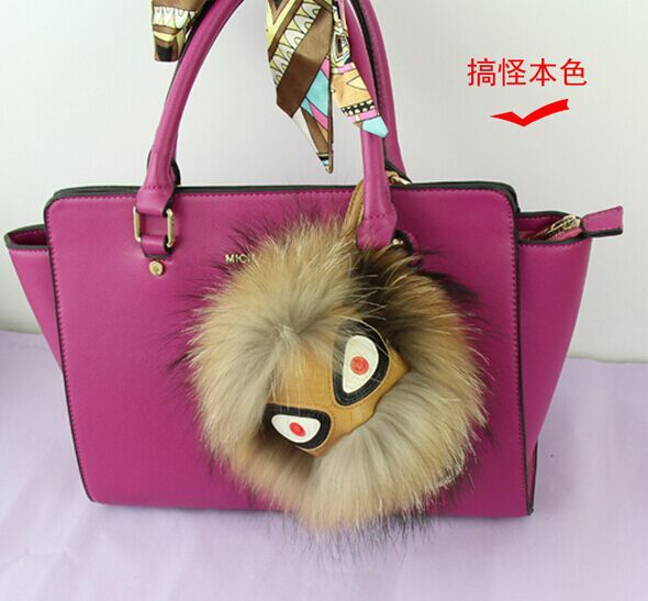2016 Real Fur Leather Monster Pom Pom Accessories For Bags Pendant ...