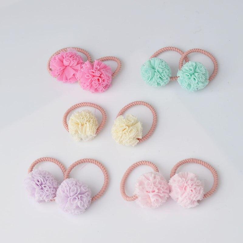 2 Pieces Cute Little Girls' Pompom Hair Ties Ball Elastic Hair Band For Kids Hair Ropes Hair Accessories AS0179