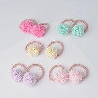2 pieces Cute Little Girls' Pompom Hair Ties Ball Elastic Hair Band for kids Hair Ropes Hair Accessories AS0179 Girls Accessories