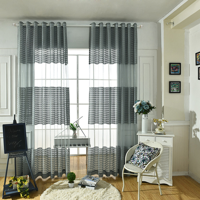 2017 gris vague ray polyester tissu moderne simple - Tende sala moderna ...