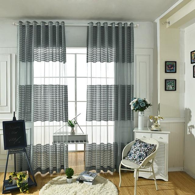 2017 gris vague ray polyester tissu moderne simple chambre voilages pour salon tulle rideau - Voilage moderne fenetre ...