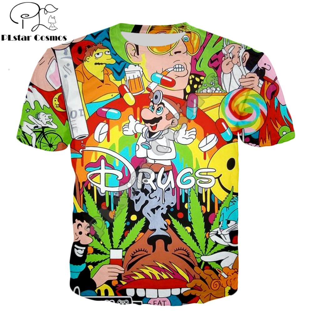 PLstar Cosmos Drop shipping 2019 Summer Fashion   T  -  shirt   Drugs&weed   t     shirt   Cartoon Super Mario 3D Print Mens Womens   t     shirts