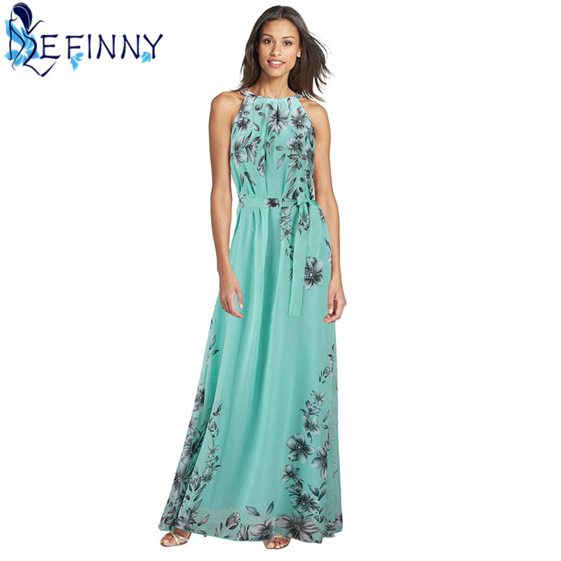 2018 Fashion Summer Women Elegant Boho Long Maxi Dress Charming O-Neck Chiffon Lady Evening Party beach Dress Plus Size S-6XL