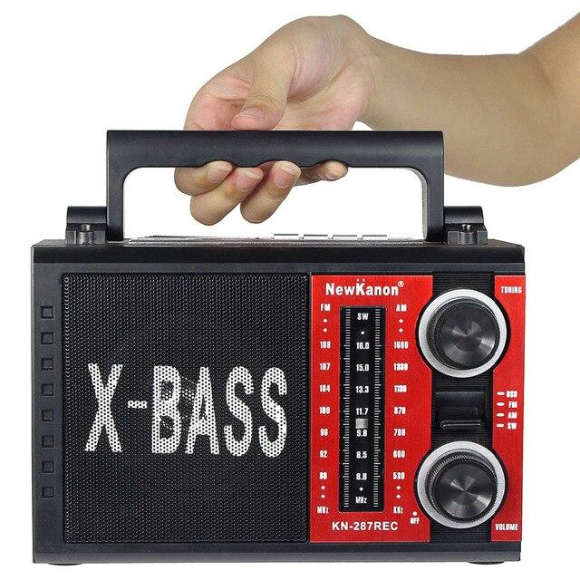 5 Вт X-BASS Радио FM AM SW Стол Portable Radio with MP3 Player REC MIC Radio Recorder FM Черный + красный Y4374A