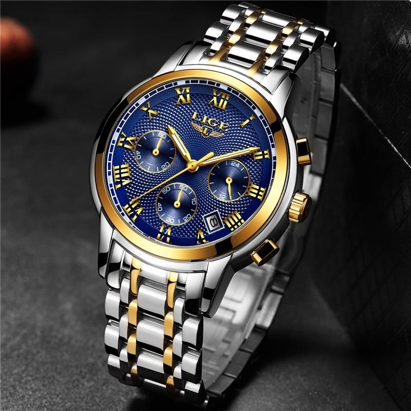 Relogio Masculino 2020 LIGE New Watches Men Luxury Brand Chronograph Men Sports Watches Waterproof Full Steel Quartz Men's Watch