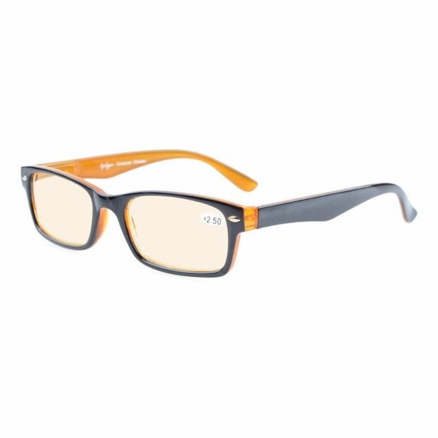 CG055 Spring Hinges UV Protection, Anti Glare Anti Blue Rays, Scratch Resistant Lens Yellow Tinted Lens Computer Reading Glasses
