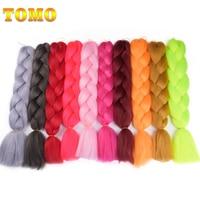 TOMO Ombre Kanekalon Jumbo Synthetic Braiding Hair 24inch 60cm Crochet Hair Extensions Jumbo Braids Hairstyles 100g/Pack