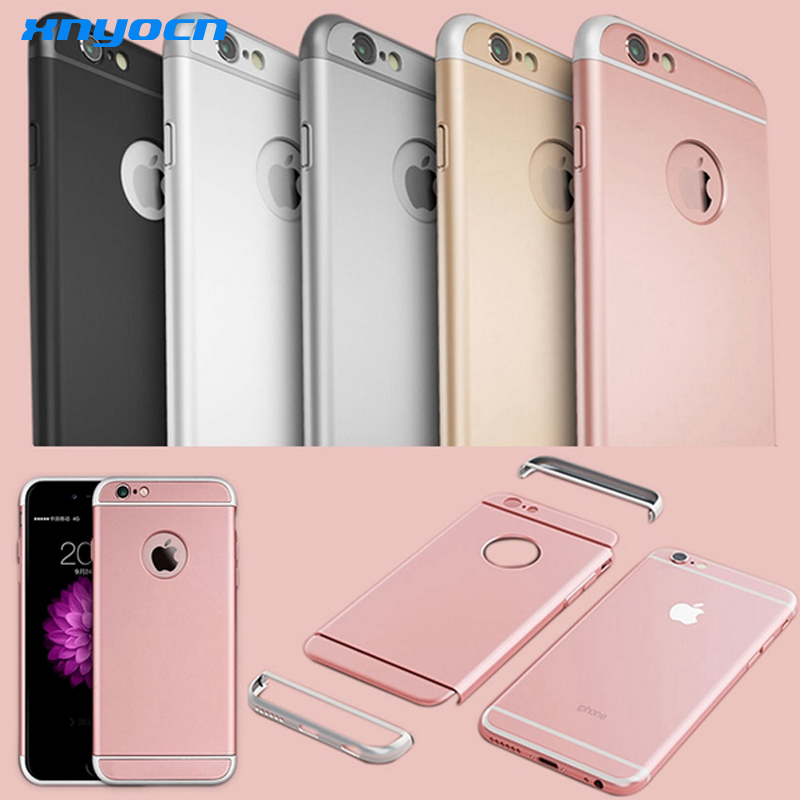 Luxe 3 In 1 Full Body Harde Plastic voor Iphone 6 6 S 4.7/6 6 S Plus 5.5 Rose Gold Case Clear Logo Cirkel Cover