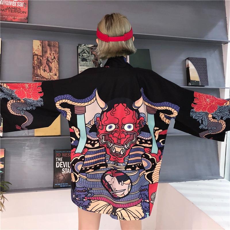 Yukata female Kimono cardigan shirt harajuku kawaii style Kimonos woman 2019 blouse obi haori Japanese streetwear AA4364