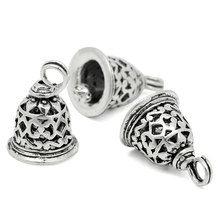 100Pcs Antique Silver Tone Charm Pendants Christmas Bell Hollow Jewelry Findings 19x12mm(6/8x4/8)