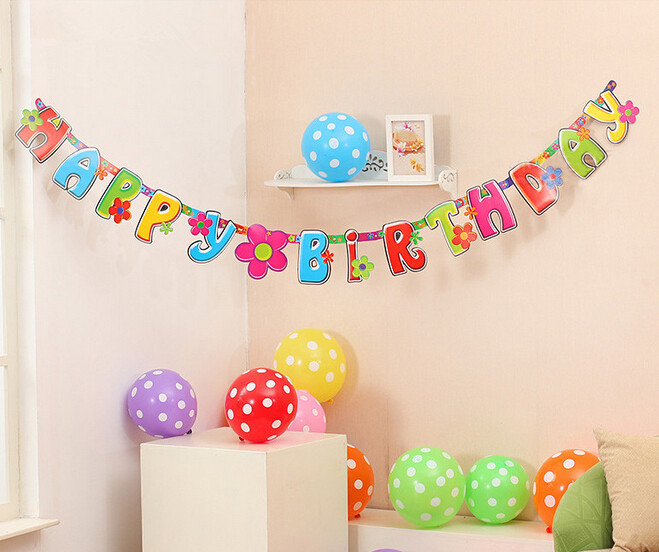 New arrival 210cm beautiful happy birthday Banners birthday decor