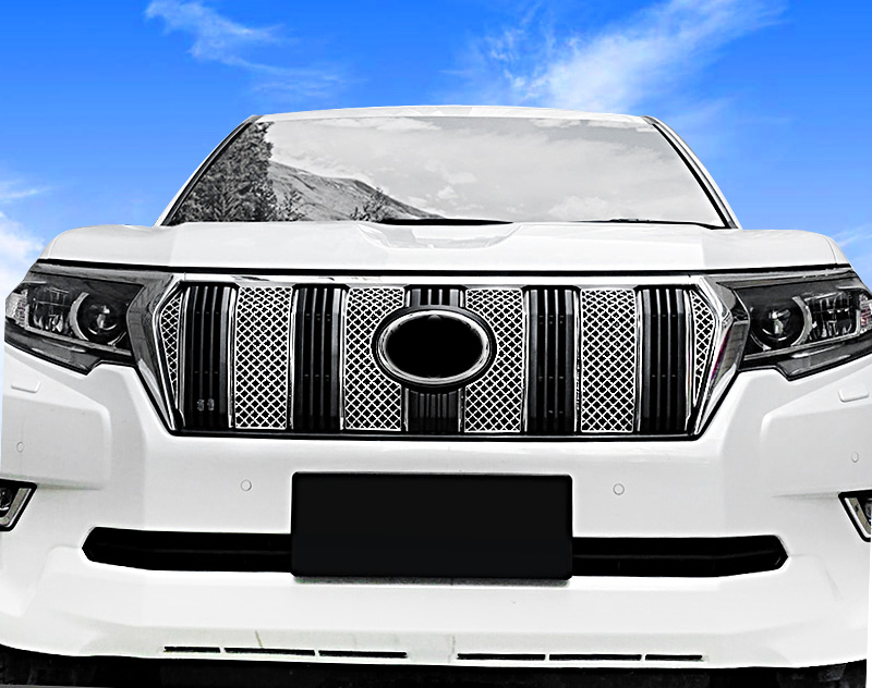 For Toyota Land Cruiser Prado FJ150 2018 Stainless Steel Front Honeycomb Grille Grid Cover Trim 6pcs