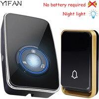 YIFAN NEW Wireless Doorbell NO BATTERY Waterproof LED Night Light Sensor Smart Door Bell Chime EU