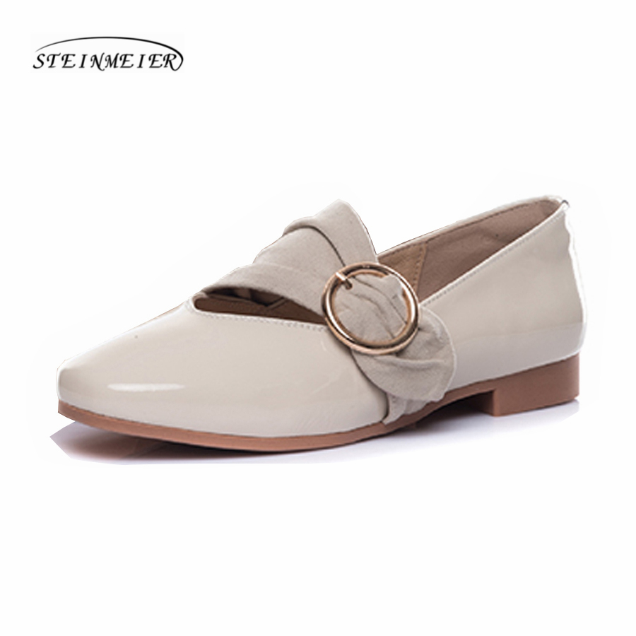 Women square toe flat loafers shoes handmade grey beige vintage Retro leather casual buckle comfortable loafer oxford shoes
