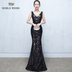Image 1 - evening dresses 2019 sexy v neck mermaid balck/blue/red sequin women formal dress floor length in stock evening gown
