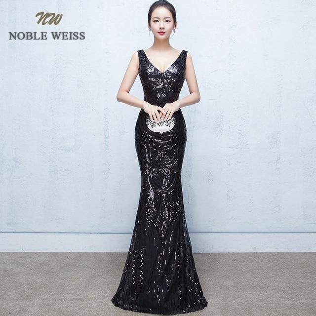 evening dresses 2019 sexy v neck mermaid balck/blue/red sequin women formal dress floor length in stock evening gown