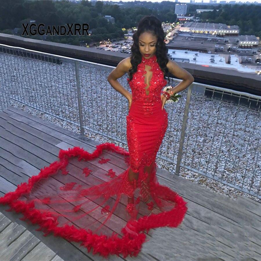 Sexy rouge plume sirène robes de bal 2019 grande taille Vintage dentelle pailletée perlée africaine arabe filles robe de soirée robe de soirée
