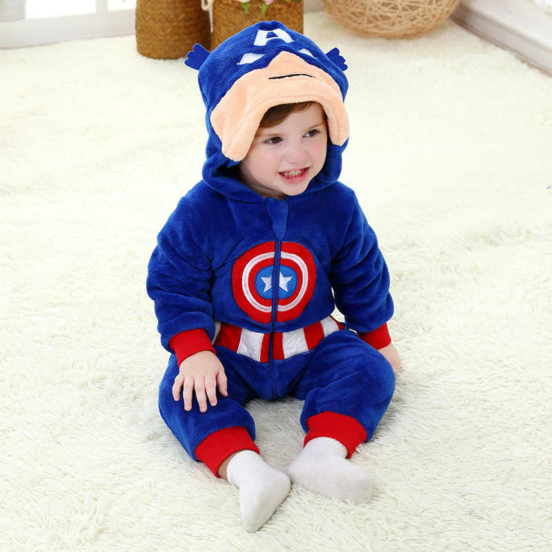 b928a6ff81 Superhero For Captain America Kigurumi Kids Cartoon Animal Cosplay Costume  Warm Soft Flannel Fancy Onesie Cute