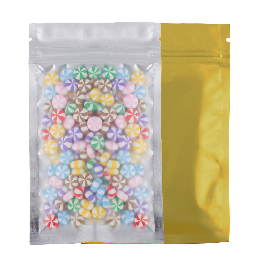 Various Sizes Colors 100x Matte Translucent Flat Zip Bag Clear Front Heat Sealing Foil Mylar Zip Lock Storage Bags w/ Tear Notch
