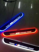 EOsuns LED Moving Door Scuff Nerf Bars Running Boards Door Sill Light Plate Overlays Linings For