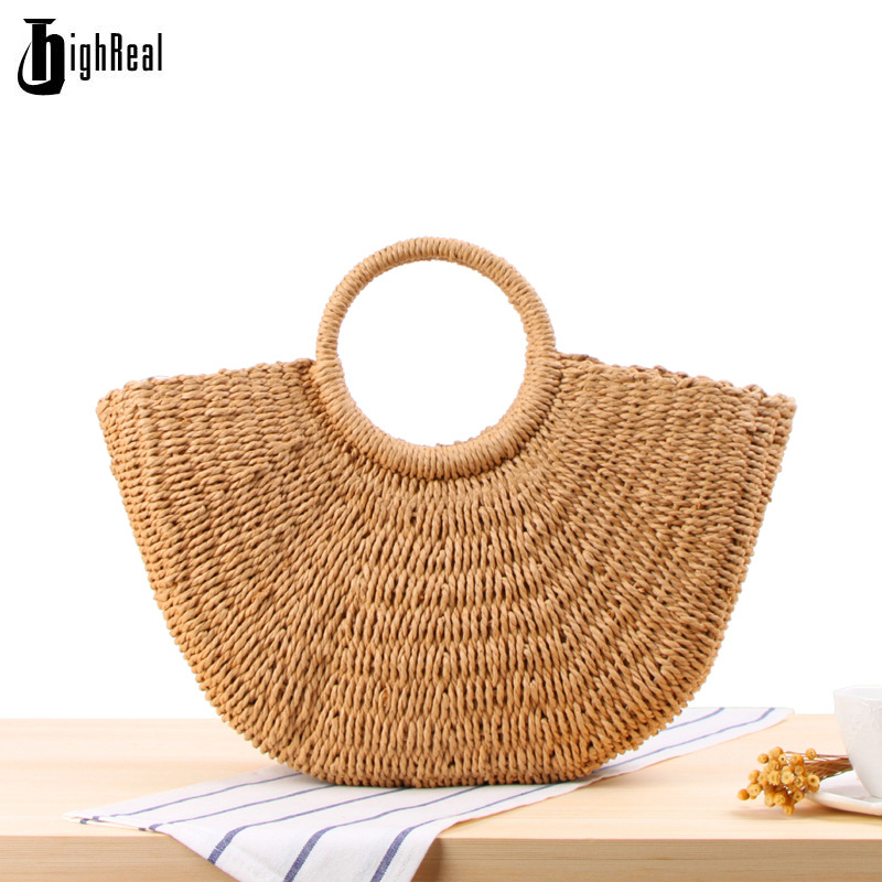 HIGHREAL New Fashion Straw Bag Large Capacity Women's Handbag Handmade Woven Bag Casual Beach Bags Ladies Tote bolsa feminina handmade flower appliques straw woven bulk bags trendy summer styles beach travel tote bags women beatiful handbags