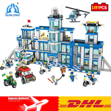 DHL Qunlong Toys Police Station Set Building Blocks Compatible Legos Minecraft City Action Mini Figures Assembled DIY Model Toys