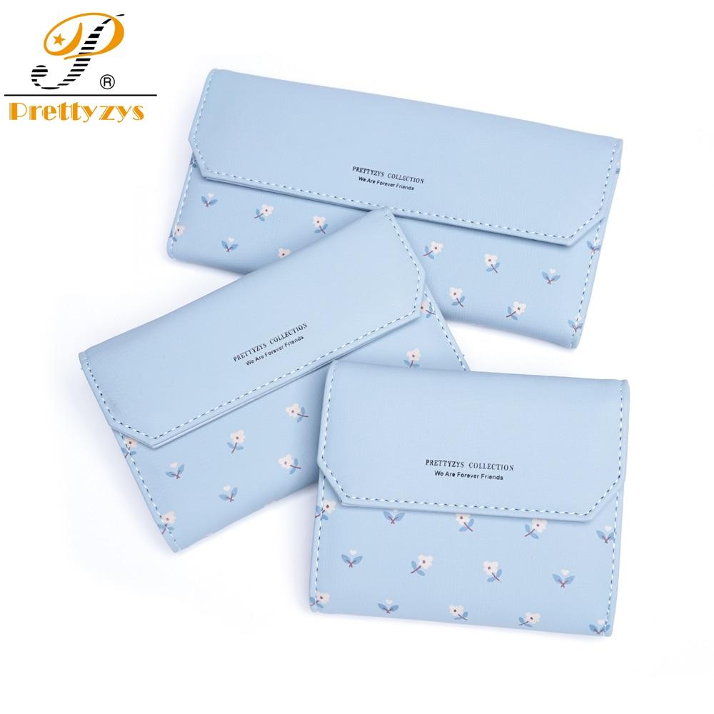 Women Wallet Female Short Purse Long Leather Flower Hasp Phone Bag Card Holder Coin Pocket Zipper Lady Floral Carteras Sac Blue