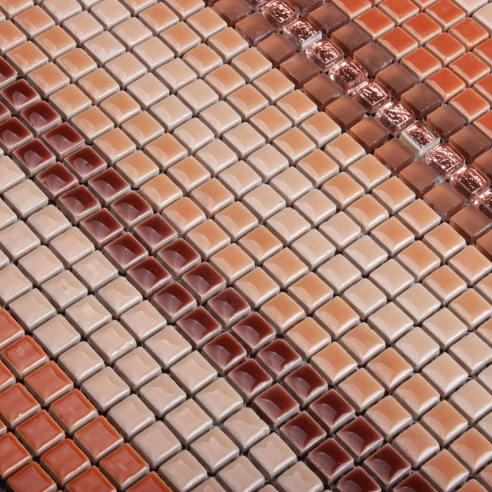 orange red color ceramic mixed crystal mini mosaic tile. Black Bedroom Furniture Sets. Home Design Ideas