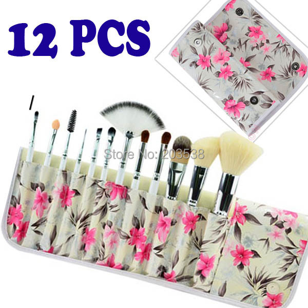Free shipping Makeup Brush 12PCS Professional Makeup Brush Set Cosmetic Brushes with Azalea Printing Case
