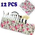 Free shipping Makeup Brush 12PCS Professional Makeup Brush Set Cosmetic Brushes with Azalea Printing Case