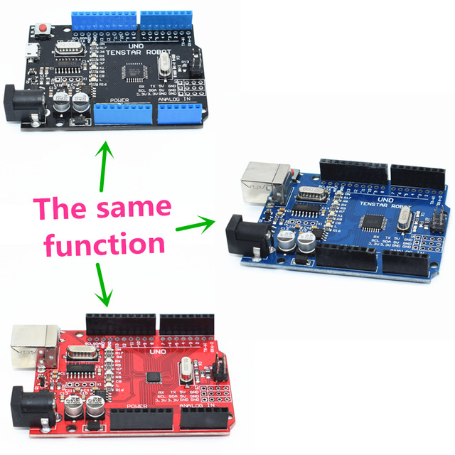 Un ensemble UNO R3 CH340G + MEGA328P puce 16 Mhz UNO R3 noir/bleu/rouge pour uno r3 pour arduino