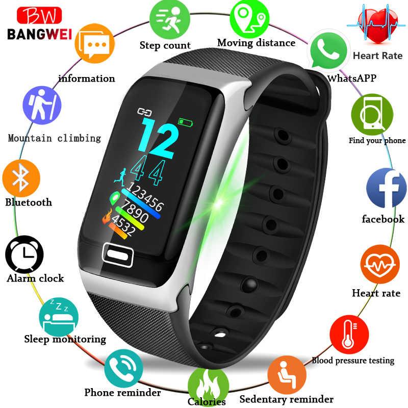 BANGWEI новые модные смарт-фитнес водонепроницаемые часы для мужчин монитор сердечного ритма Bluetooth подключение Android ios умные спортивные часы + коробка