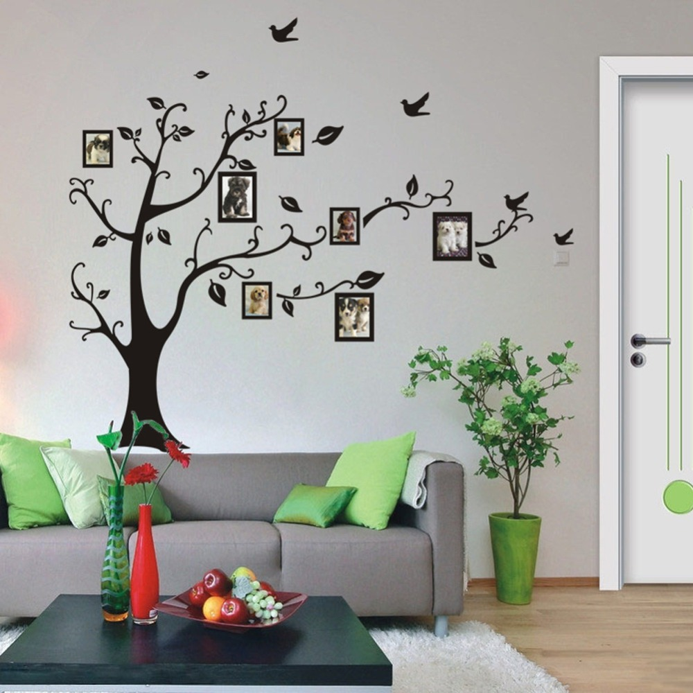 LP 1set Large Size 90*120cm Black Color Family Tree Sticker Wall Decal U0026  Photo Frame Tree Stickers For Living Room Wall Decor