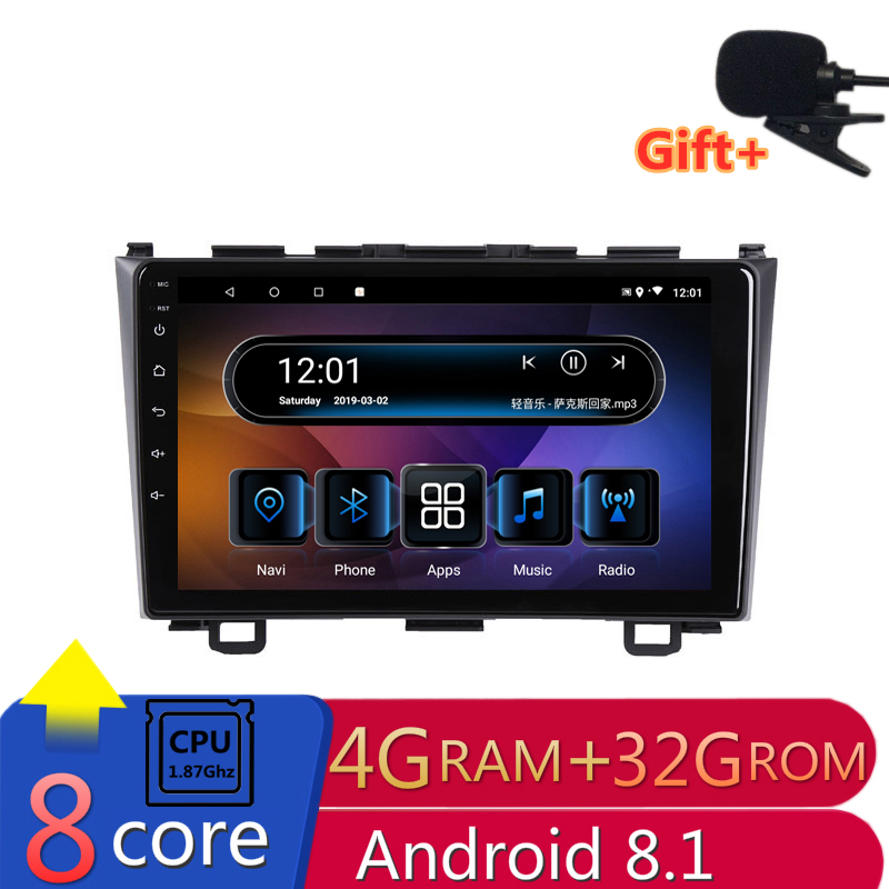 "9"" 4G RAM 2.5D IPS 8Core Android 8.1 Car DVD Multimedia Player GPS For Honda CRV 2007 2008 2009 2010 2011 audio radio navigation"