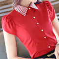 2016 New fashion female Short sleeve chiffon shirt elegant OL women's plus size blouse office ladies work wear formal red tops
