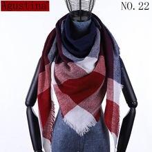 Женский клетчатый шарф Зимний кашемировый Тартан шаль пончо